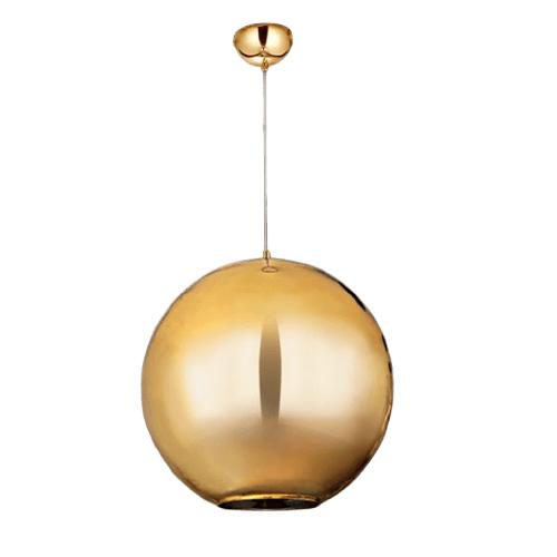 Luminária Pendente Globo Vidro Espelhado Dourado