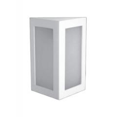 Arandela Triangular Branca ou Preta Com 2 Vidros E-27