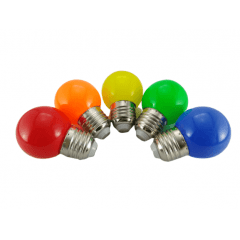 kit 5 Lâmpada Bulbo 1w E-27 Led De Cor 127V