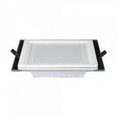 Embutido de LED Quadrado com Vidro 12W 30cm